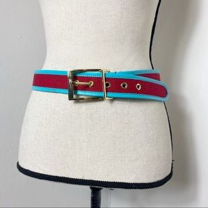 Talbots Red Canvas Belt with Blue Leather Trim S